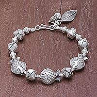 Silver beaded bracelet, 'Natural Cycle' - Fish Motif Karen Silver Beaded Bracelet from Thailand