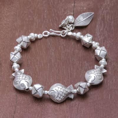 Silver beaded bracelet, Natural Cycle