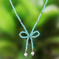 Calcite and cultured pearl beaded lariat necklace, 'Lovely Bow' - Calcite and Cultured Pearl Beaded Lariat Necklace