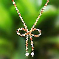 Carnelian and cultured pearl beaded lariat necklace, 'Lovely Bow' - Carnelian and Cultured Pearl Beaded Lariat Necklace