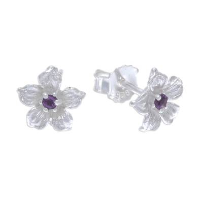 Amethyst stud earrings, 'Winter Blooms' - Floral Amethyst Stud Earrings from Thailand