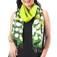 Batik silk scarf, 'Bubbles in Chartreuse' - Hand-Painted Batik Silk Scarf in Chartreuse from Thailand
