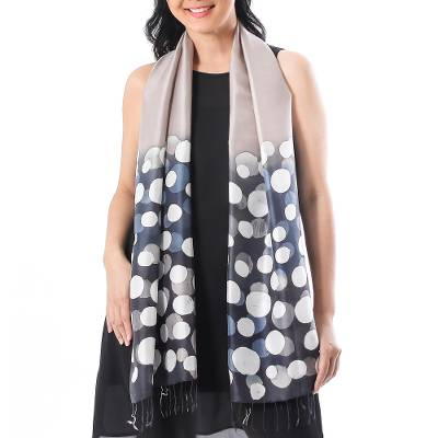 Batik silk scarf, 'Bubbles in Stone' - Hand-Painted Batik Silk Scarf in Stone from Thailand