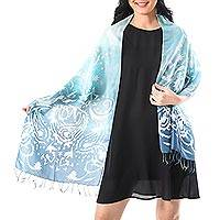 Batik silk scarf, 'Morning Sea' - Batik Silk Aquamarine Wrap Scarf from Thailand