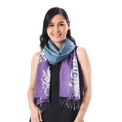 Batik silk scarf, 'Lanna Blossom' - Azure and Purple Batik Silk Wrap Scarf from Thailand