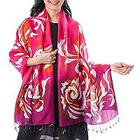Batik silk shawl, 'Fascinating Dance' - Hand-Painted Fuchsia Batik Silk Shawl from Thailand