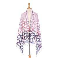 Batik silk shawl, 'Pale Lilac Bubbles' - Bubble Motif Batik Silk Shawl in Pale Lilac from Thailand