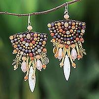 Calcite and carnelian beaded waterfall earrings, 'Boho Charm' - Calcite and Carnelian Beaded Waterfall Earrings