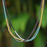 Quartz and calcite long beaded strand necklace, 'Elegant Sweetness' - Quartz and Calcite Beaded Strand Necklace from Thailand