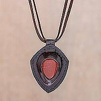 Jasper and leather pendant necklace, 'Bold Shield' - Jasper and Leather Pendant Necklace from Thailand