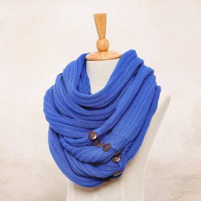 Cotton convertible scarf, ' - Knit Cotton Convertible Scarf in Lapis from Thailand