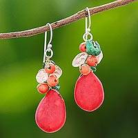Multi-gemstone beaded dangle earrings, 'Summer Fire' - Multi-Gemstone Beaded Dangle Earrings Crafted in Thailand