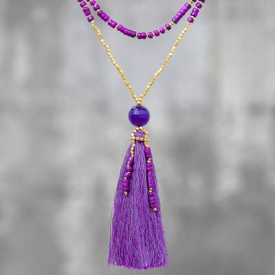 Quartz beaded pendant necklace, 'Boho Mood in Purple' - Bohemian Purple Quartz Beaded Pendant Necklace