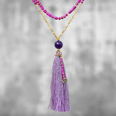 Quartz beaded pendant necklace, 'Boho Mood in Fuchsia' - Bohemian Fuchsia Quartz Beaded Pendant Necklace