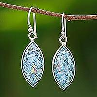 Roman glass dangle earrings, 'Ancient Marquise' - Marquise Roman Glass Dangle Earrings from Thailand