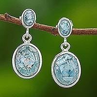 Roman glass dangle earrings, 'Romantic Ovals' - Oval Roman Glass Dangle Earrings from Thailand