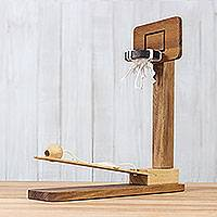Wood game, 'Basketball Fun' - Raintree Wood Miniature Basketball Game from Thailand