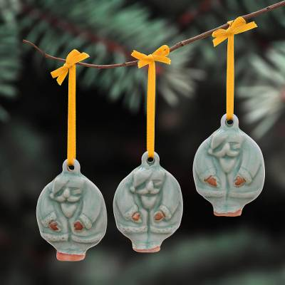 Celadon ceramic ornaments, 'Delightful Santas' (set of 3) - Celadon Ceramic Santa Ornaments from Thailand (Set of 3)