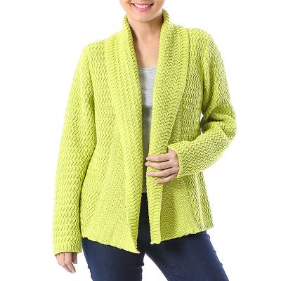 Cotton cardigan, 'Zigzag Knit in Chartreuse' - Knit Cotton Cardigan in Chartreuse from Thailand