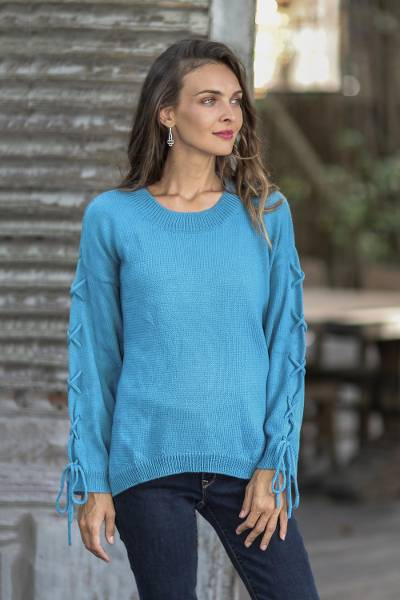 Cotton pullover, 'Cool Cross in Cerulean' - Knit Cotton Pullover in Cerulean from Thailand