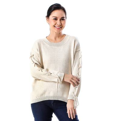 Cotton pullover, 'Cool Cross in Antique White' - Knit Cotton Pullover in Antique White from Thailand