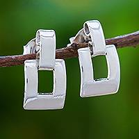 Sterling silver dangle earrings, 'Lovely Match' - Modern Sterling Silver Dangle Earrings Crafted in Thailand