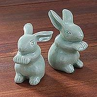 Celadon ceramic figurines, 'Green Rabbits' (pair) - Celadon Ceramic Rabbit Figurines from Thailand (Pair)