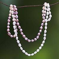 Cultured pearl beaded long necklace, 'Blissful Woman in Pink' - Cultured Pearl Beaded Long Necklace in Pink from Thailand