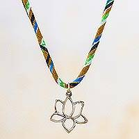 Brass pendant necklace, 'Colorful Open Lotus' - Colorful Brass Lotus Flower Pendant Necklace from Thailand