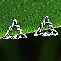 Sterling silver stud earrings, 'Rope Triangles' - Rope Pattern Triangular Sterling Silver Stud Earrings