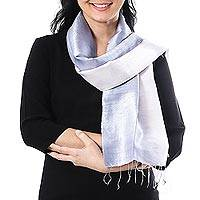Silk scarf, 'Silvery Glow' - Ombre Grey Silk Scarf with Fringe from Thailand