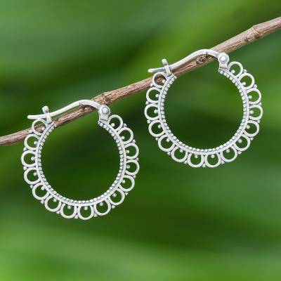 Sterling silver hoop earrings, 'Classic Loops' - Loop Pattern Sterling Silver Hoop Earrings from Thailand