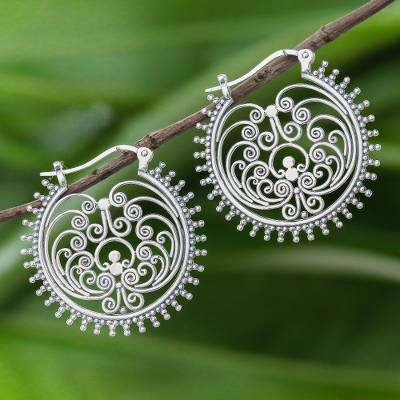 Sterling silver hoop earrings, 'Beatific Spirals' - Spiral pattern Sterling Silver Hoop Earrings from Thailand