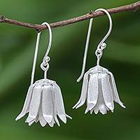 Sterling silver dangle earrings, 'Shy Lotus' - Handcrafted Thai Sterling Silver Floral  Earrings
