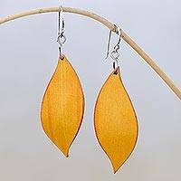 Leather dangle earrings, 'Fanciful Leaves in Yellow' - Leaf-Shaped Leather Dangle Earrings in Yellow from Thailand