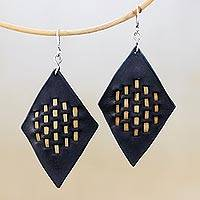 Leather and brass dangle earrings, 'Pagoda Diamonds' - Diamond-Shaped Leather and Brass Dangle Earrings