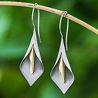 Gold accented rhodium plated sterling silver drop earrings, 'Dark Lily' - Handmade Gold Accent Rhodium Plated Sterling Silver Earrings