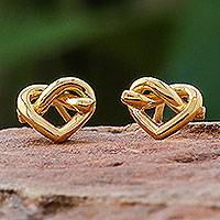 Gold plated sterling silver stud earrings, 'Lassos of Love' - Modern Thai 18k Gold Plated Sterling Silver Stud Earrings