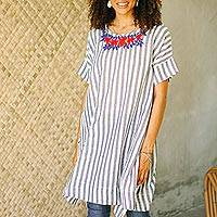 Cotton long length tunic, 'Sky Flora' - Floral Embroidered Striped Cotton Long Length Tunic