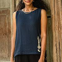 Cotton tank top, 'Flirty Bloom in Navy' - Cool Crinkle Cotton Tank Top in Navy