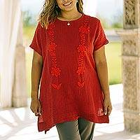 Cotton blouse, 'Crimson Bloom' - Floral Cotton Blouse in Crimson from Thailand