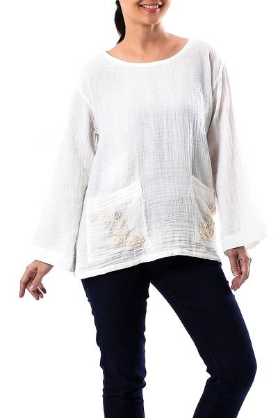 Cotton blouse, Lovely Bloom in Cool White