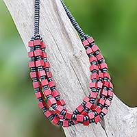 Wood beaded necklace, 'Red Elegance Squared' - Red and Black Boxwood Cube Beaded Torsade Necklace
