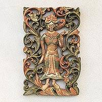 Teak wood relief panel, 'Forest Sprite' - Forest Sprite Teak Wood Relief Panel from Thailand