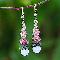 Gold accented tourmaline and agate cluster earrings, 'Happy Winter' - Gold Accented Tourmaline and Agate Cluster Earrings