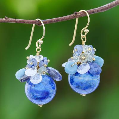 Gold accented multi-gemstone cluster earrings, 'Blue Winter' - Blue Gold Accented Multi-Gemstone Cluster Earrings
