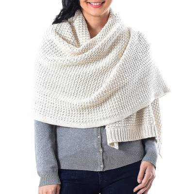 Cotton shawl, 'Chic Warmth in Eggshell' - Patterned Knit Cotton Shawl in Eggshell from Thailand