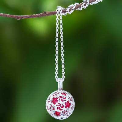 Sterling silver pendant necklace, 'Snowball' - Ringing Bell Sterling Silver Pendant Necklace in Red