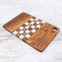 Teakwood cutting board, 'Cooking Challenge' - Checked Teakwood Cutting Board Crafted in Thailand
