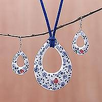 Ceramic jewelry set, 'Cute Ladybug' - Floral Ladybug Ceramic Jewelry Set from Thailand